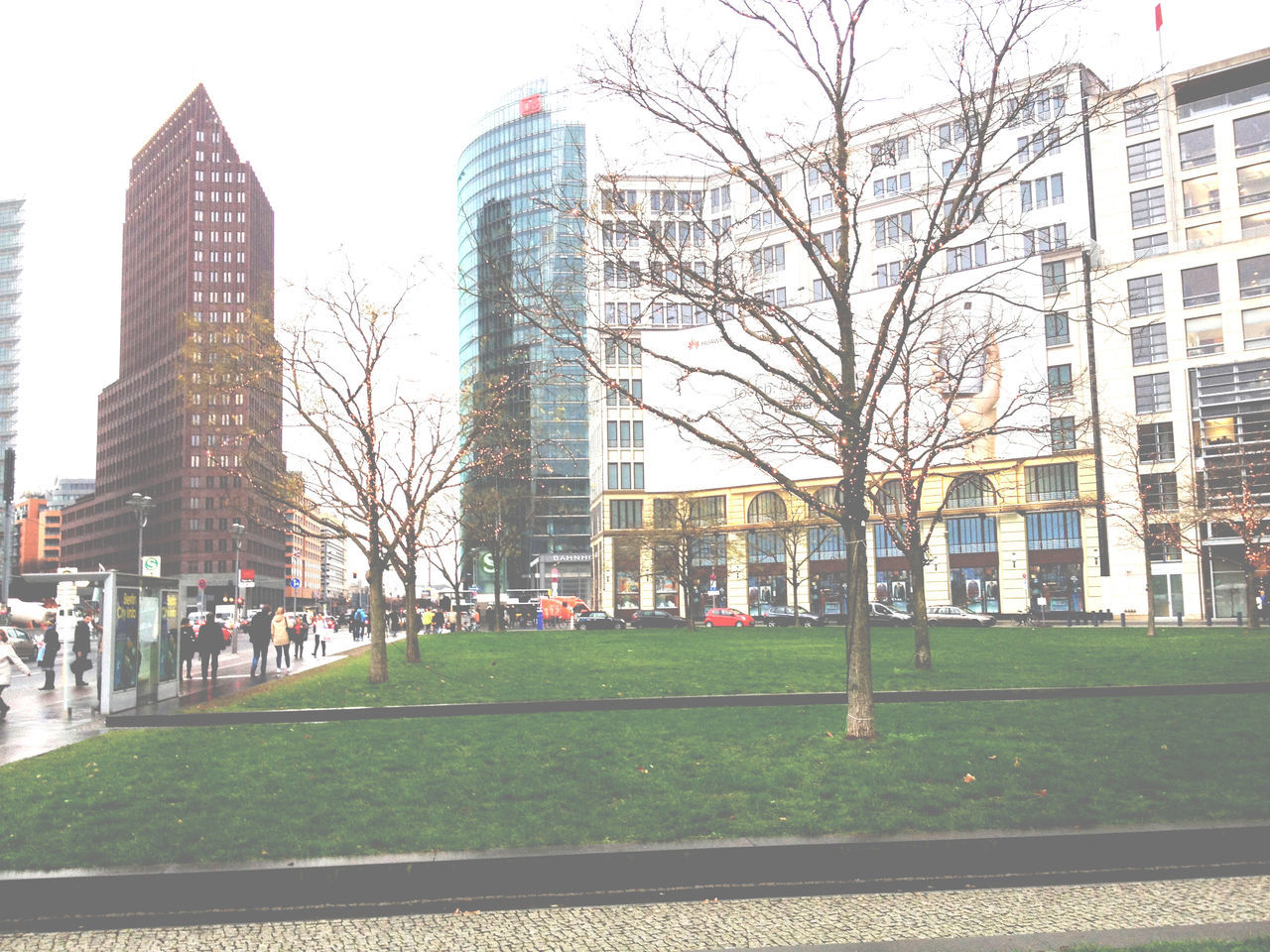architecture, building exterior, built structure, grass, skyscraper, city, modern, tower, tree, outdoors, growth, bare tree, day, no people, tall, sky, cityscape