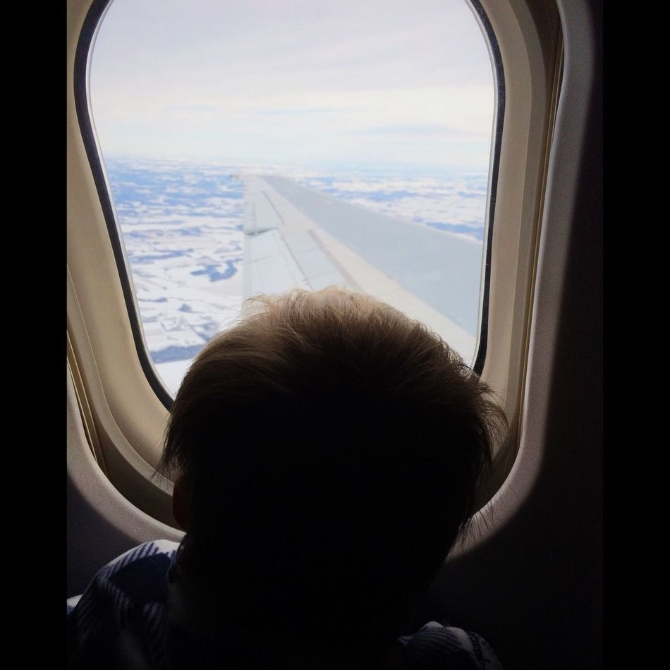 Child Looking Window View Out Of The Window Airplane View View From Above Travel