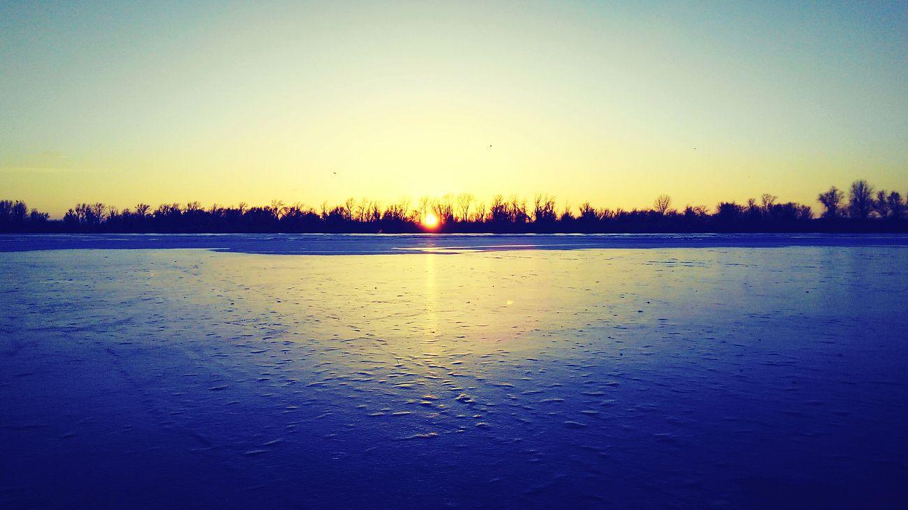 River Nature Walking Around Sunset Ice Wintertime