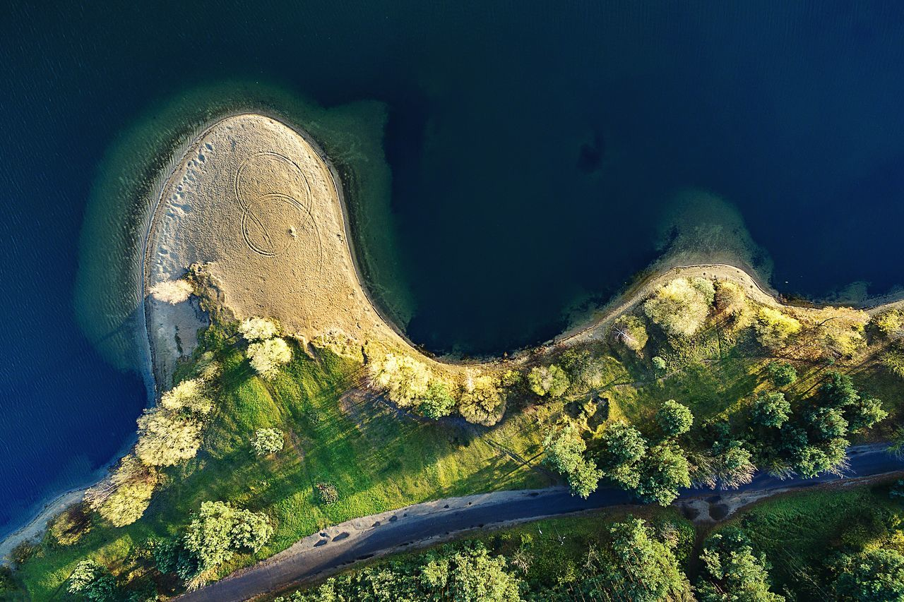 Aerial View Of Landscape And Lampedis Lake
