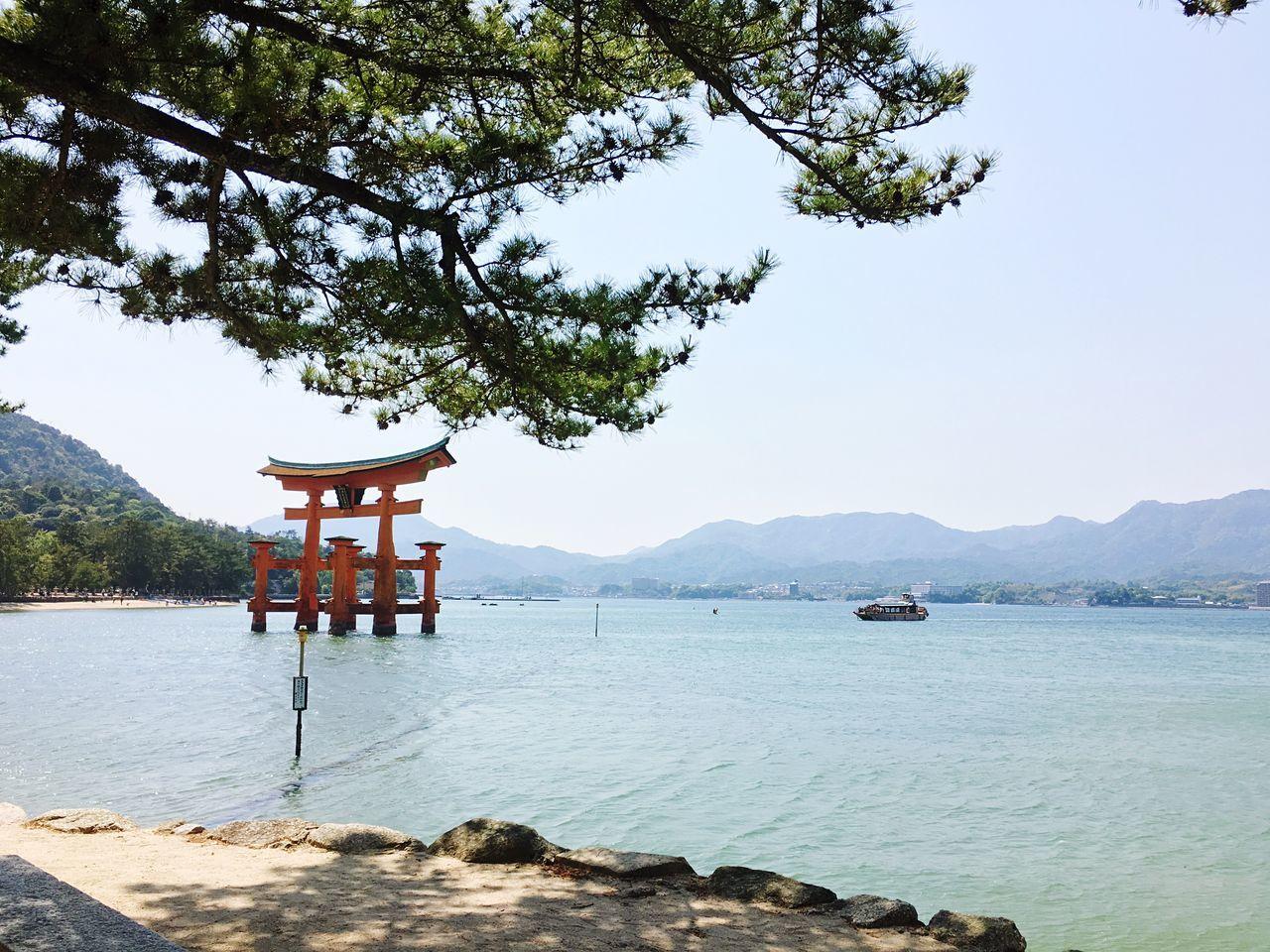 Water Nature Tree Sea And Sky Mode Of Transport Beauty In Nature Outdoors Tranquility Day Mountain Japanese Shrine Itsukushima Shrine Miyajima Miyajima Torii Hiroshima Travel Destinations