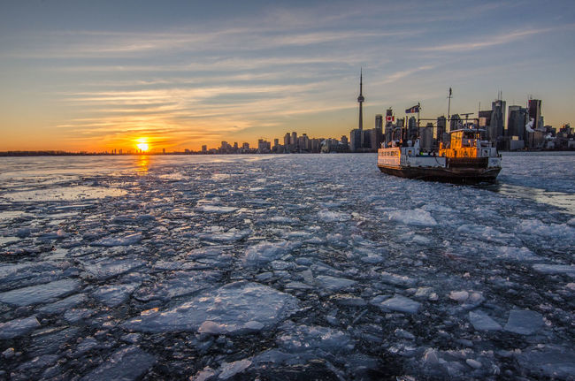 On ferry boat to Toronto Canada Ice Nature Sky Sunset Toronto Landscape Tourism Transportation Water