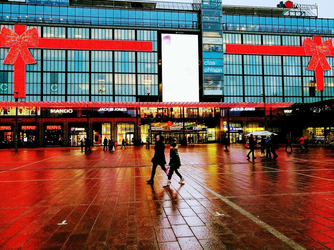 Built Structure Railroad Station Red Lifestyles Reflection Architecture Men People Walking Indoors  Large Group Of People Adults Only Only Men Adult Day Sky Finlandiaa Finland♥ Christmas Lights Finland_photolovers City Helsinki Finland Finlandia Helsinki Kamppi Helsinki,finland