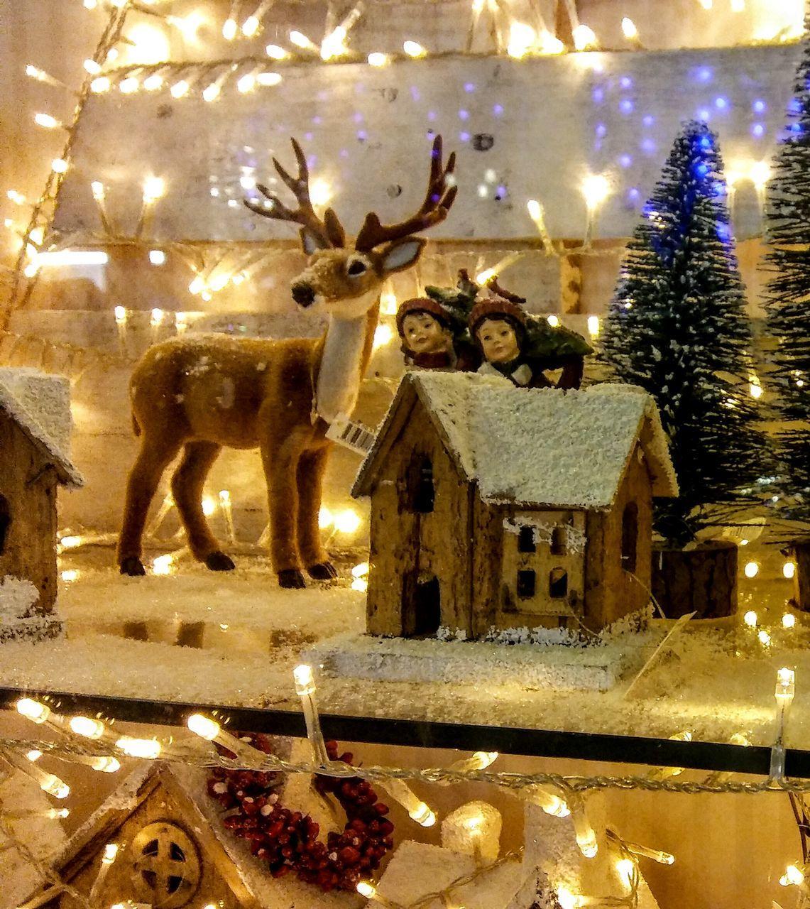 illuminated, christmas, christmas decoration, night, celebration, christmas lights, indoors, lighting equipment, christmas ornament, christmas tree, no people, animal themes, close-up
