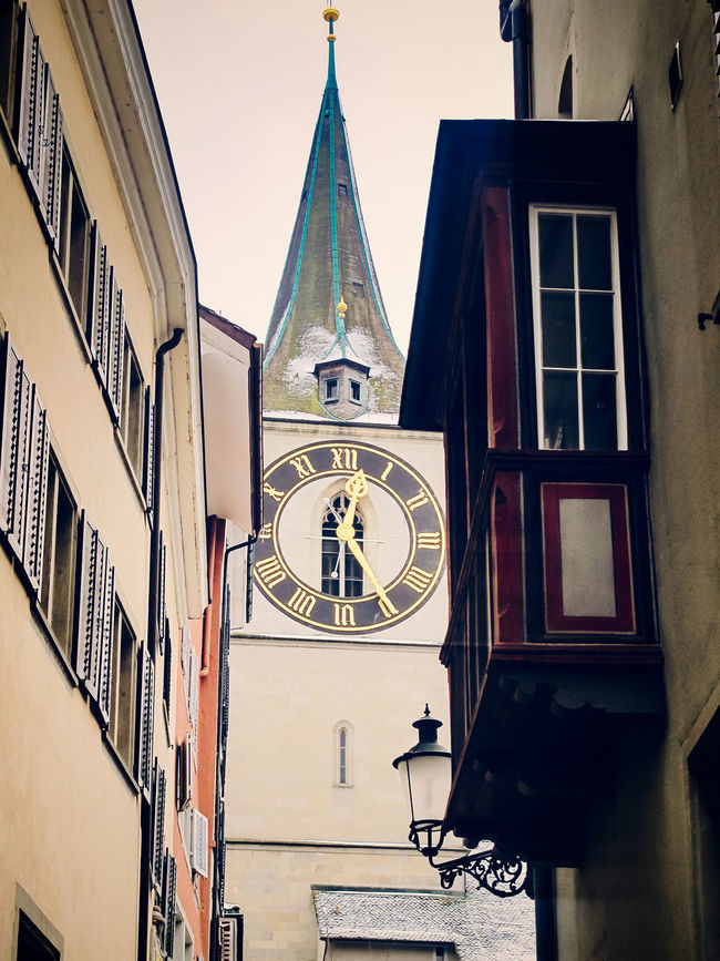 St Peter's Clock tower, Zurich, Switzerland Architecture Building Building Exterior Built Structure Clock Europe European  Historic Low Angle View Ornate Religion St Peter's Street Switzerland Time Tower Wall Wall - Building Feature Window Winter Zurich, Switzerland Zürich