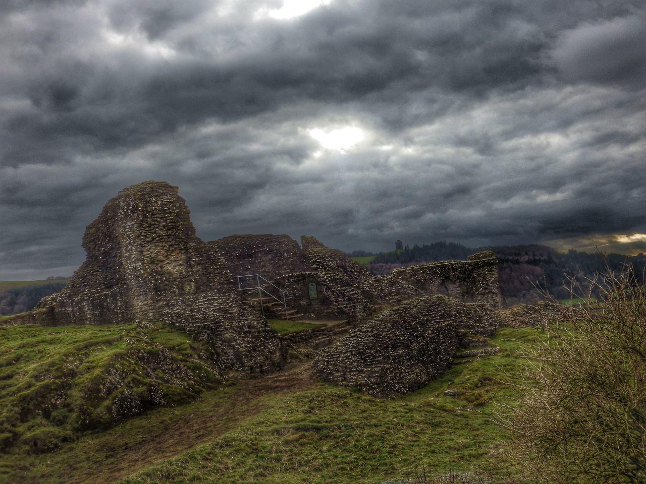 Ruins Rocks Grey Green Landscape Castle Walls Grey Sky Dramatic Moody Atmospheric