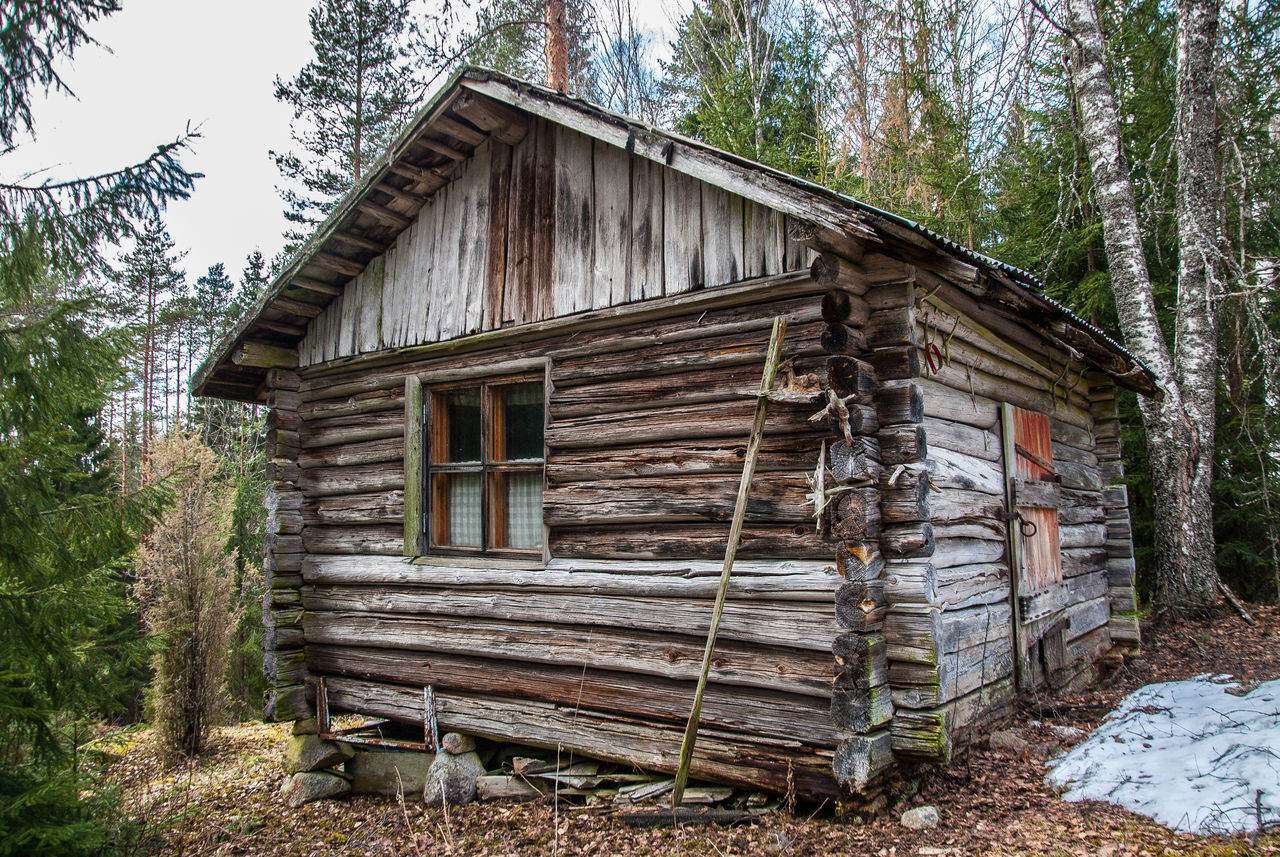 1900s Foresthouse Handmade Hiding From The World Old Buildings Oldhouses Sky Snow Trees