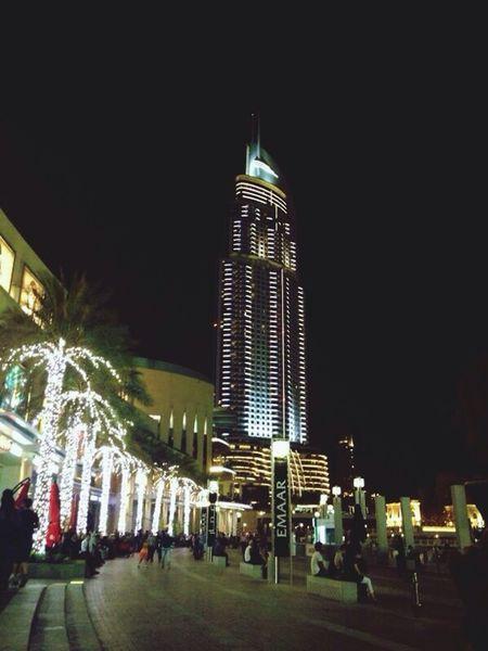 Burj Khalifa at night from Dubai Champs Élysées Hello World Great View Love It Having A Great Time