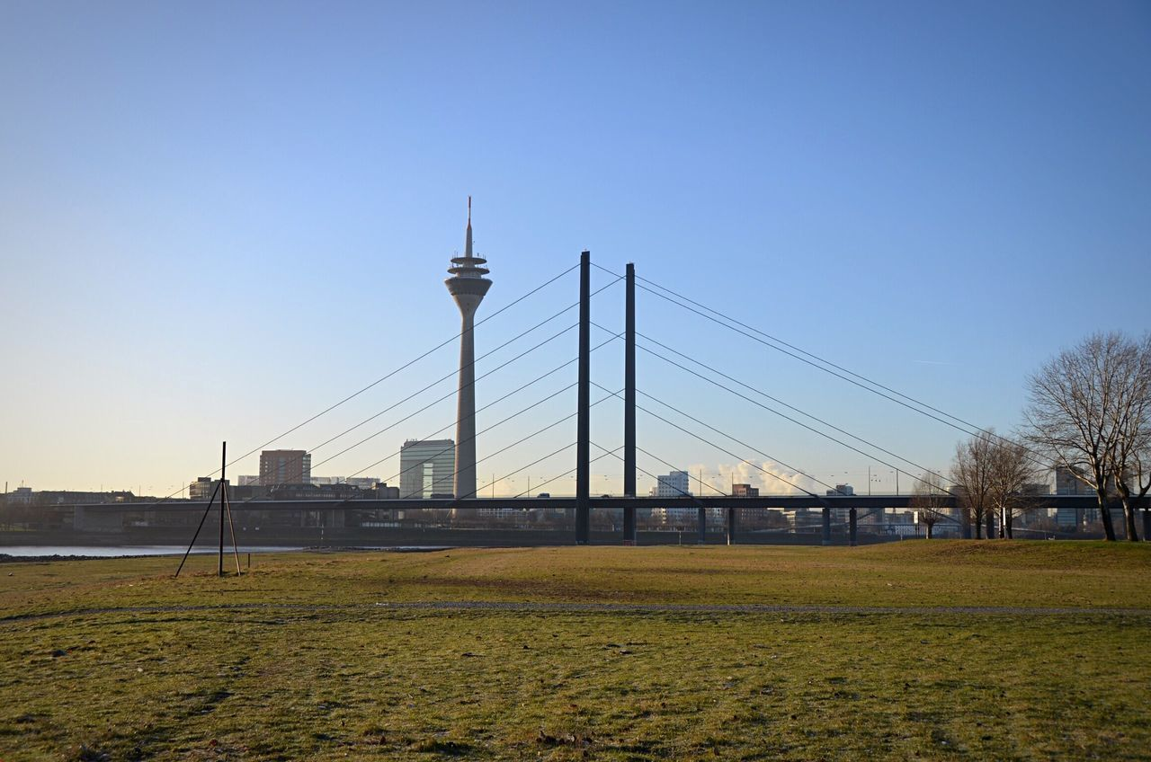 Düsseldorf, Fernsehturm Clear Sky Built Structure Architecture Outdoors No People Building Exterior Field Day Grass Nature Growth Sky Tree Track And Field Düsseldorf Rhine Rhine River Travel Harbor Fernsehturm TV Tower