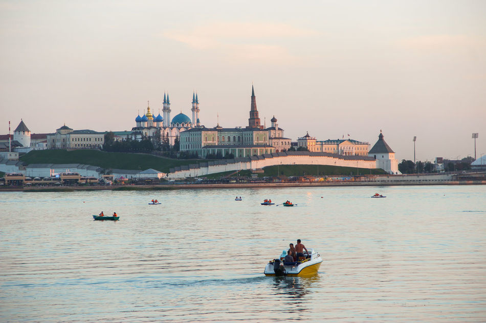 """""""Kazan castle and lake"""" Architecture Boat Castle City Cityscape Cloud - Sky Day Evening Evening Light Fort Free Time Gondola - Traditional Boat Lake Lake View Nautical Vessel Outdoors People Ship Sky Sunset Tourism Transportation Travel Travel Destinations Water"""