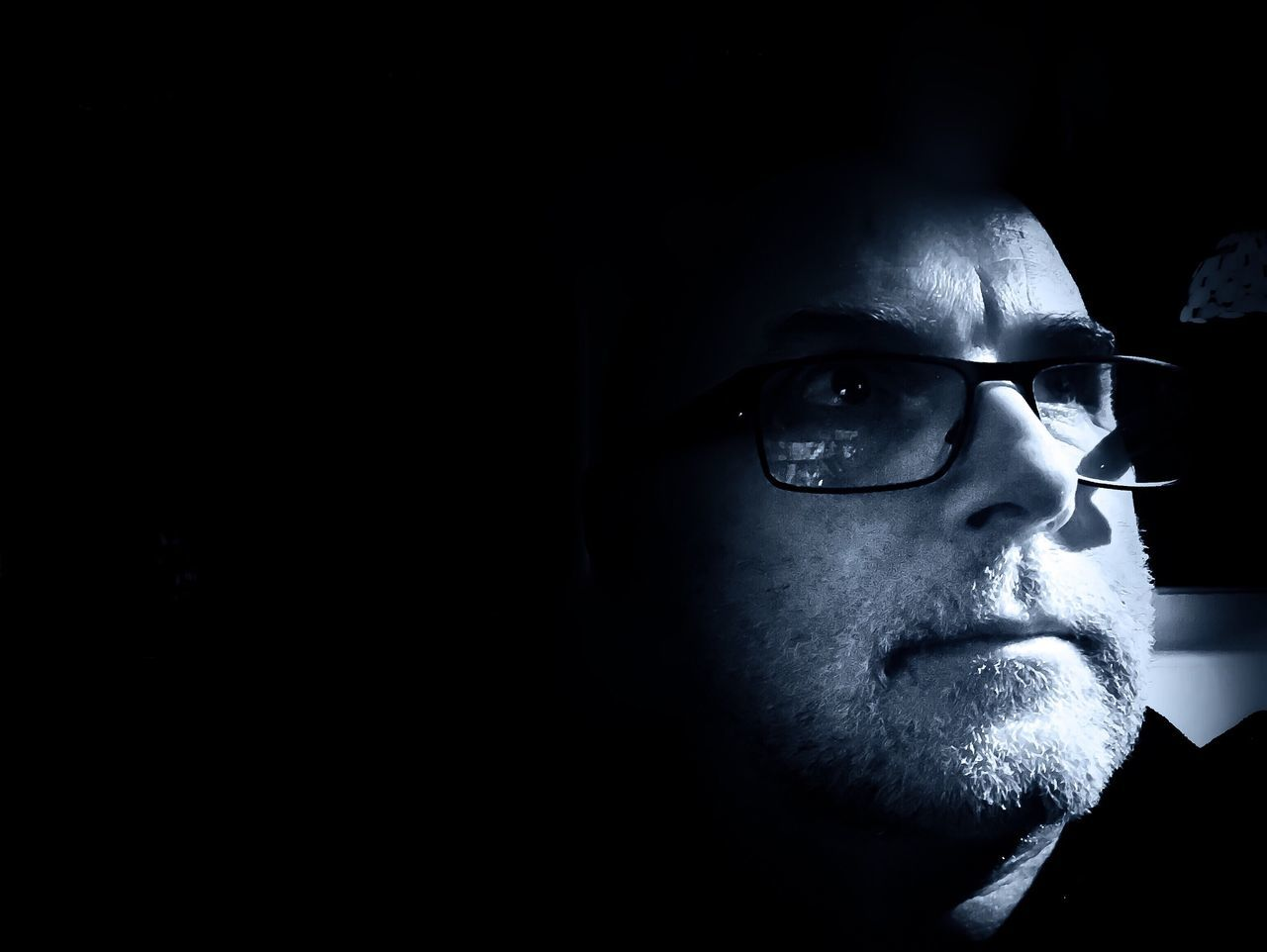 Black And White Serious One Person Black Background Headshot Beard Human Face Shadow Portrait