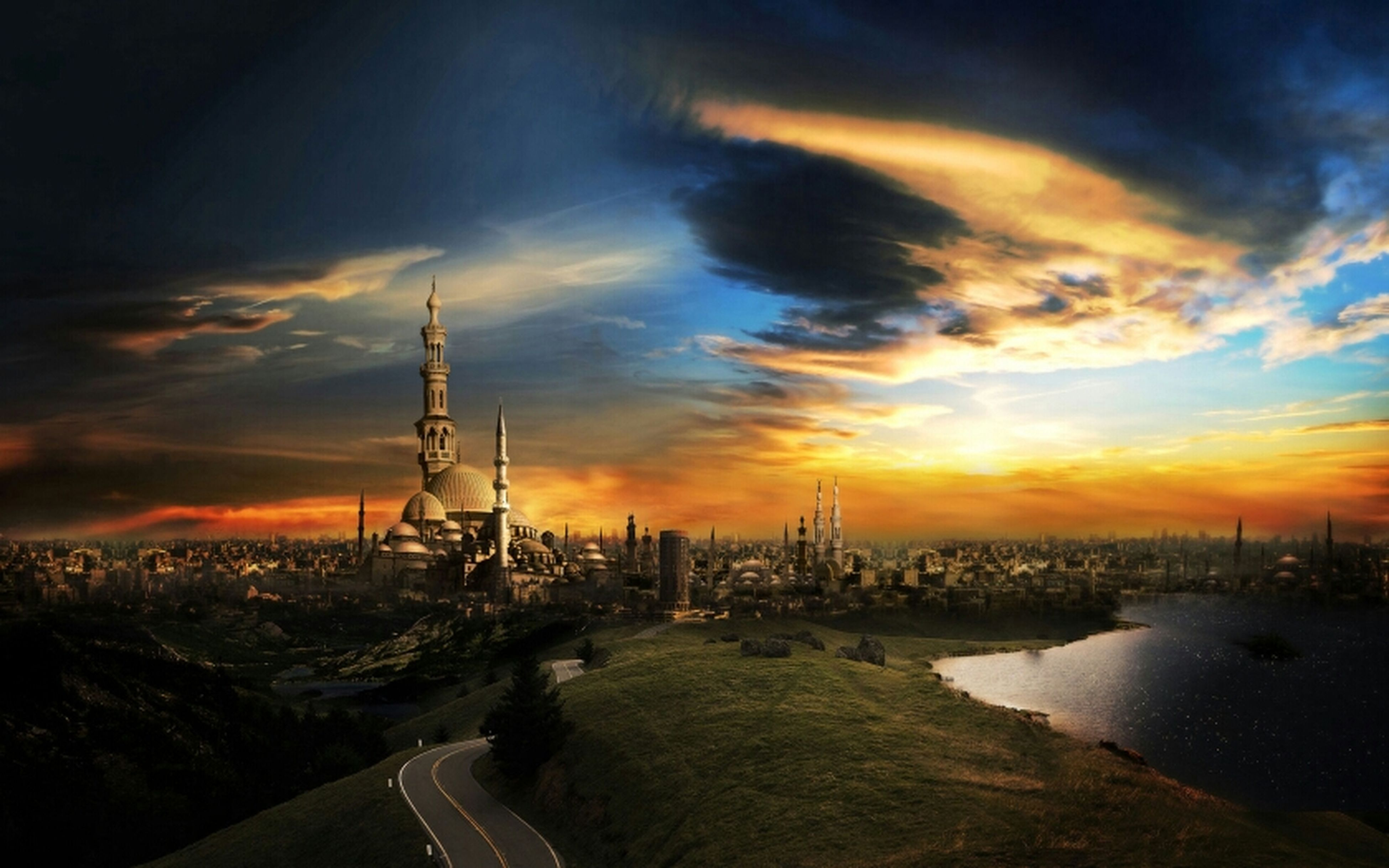 sunset, architecture, built structure, building exterior, sky, city, orange color, water, cloud - sky, cityscape, tower, river, sea, communications tower, tall - high, dusk, high angle view, cloud, travel destinations, silhouette