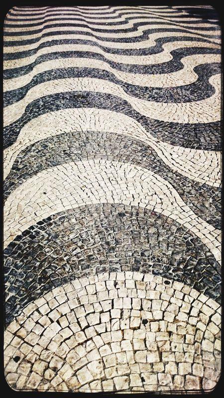 Beautifully Organized Lizbon Portugal Street Design Pattern Textured  Outdoors Blackandwhite