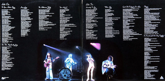 Queen: A Day At The Races, LP 1976., internal 1976. A Day At The Races Album Art Arts Culture And Entertainment ArtWork Charts Event Freddie Mercury Gramophone Record History Illuminated Internal LP Music Musicians Nightlife Performer  Pop Culture Popular Queen Rock Stage - Performance Space