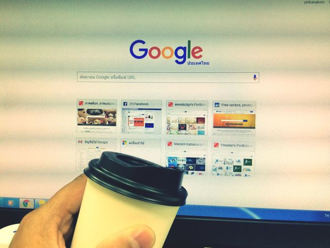 Working Office Cup Of Coffee Hot Coffee Coffee Window 7 Destop Computer Internet Searchengine Search Google Web