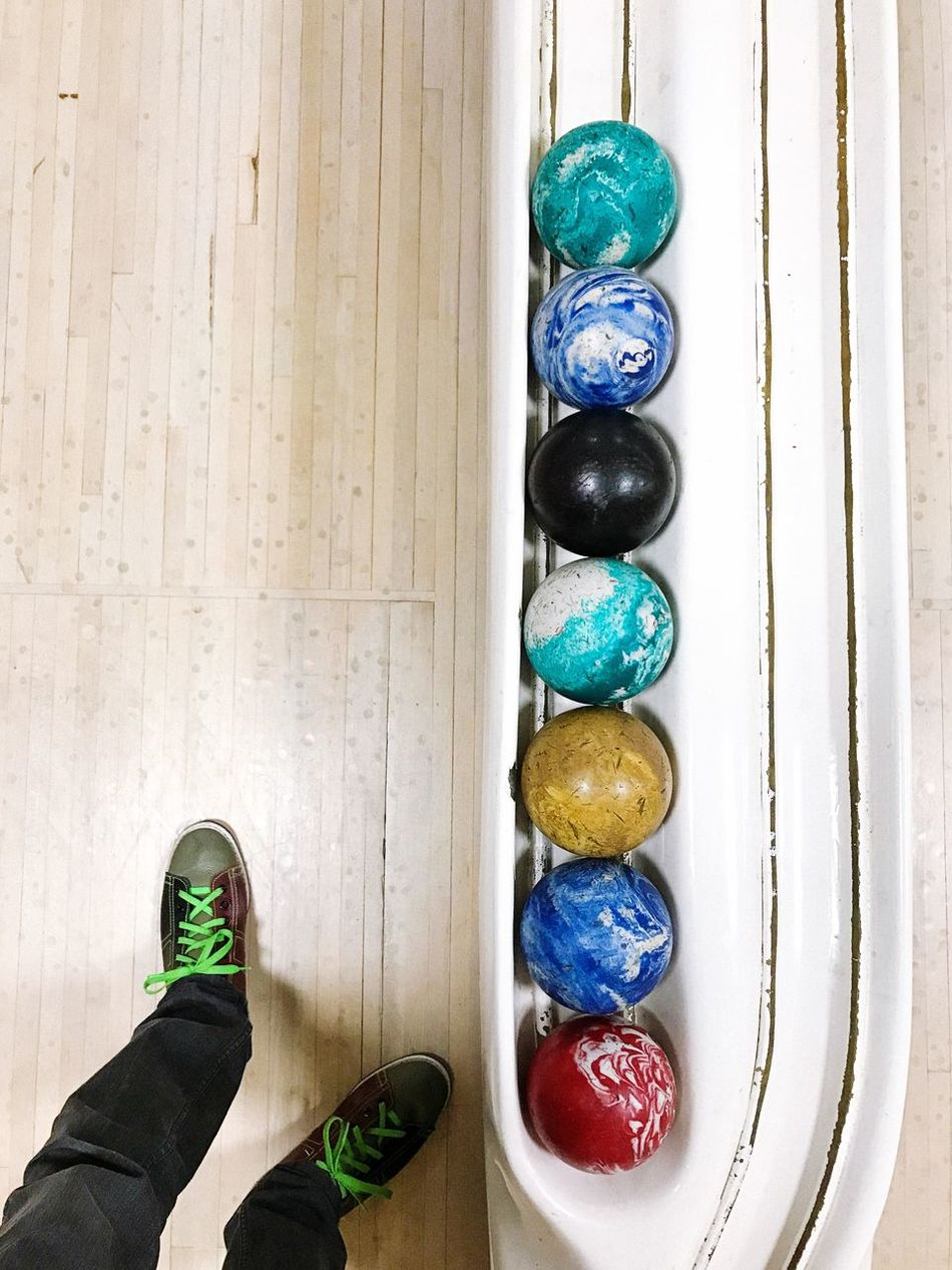 Duckpin bowling. Connecticut, USA. Photo by Tom Bland. Indoors  IPhoneography IPhone Duckpin Bowling Bowling Bowling Alley Point Of View POV America Americana Bowling Balls Man Person Perspective Looking Down Shoe Bowling Shoes Human Leg Standing One Person New England  Leisure Activity