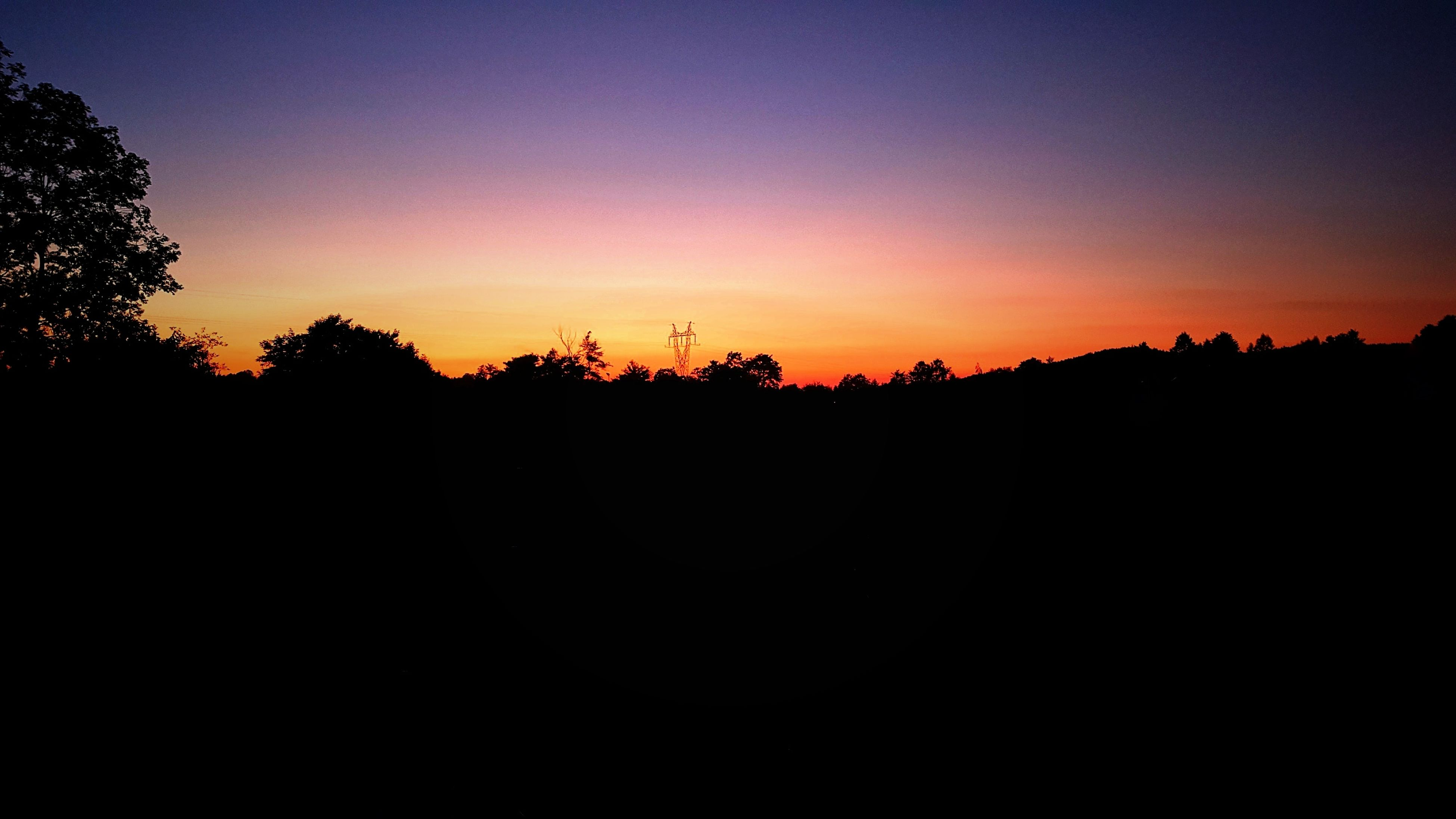 sunset, tree, beauty in nature, nature, silhouette, sky, orange color, scenics, idyllic, tranquility, tranquil scene, outdoors, growth, landscape, no people