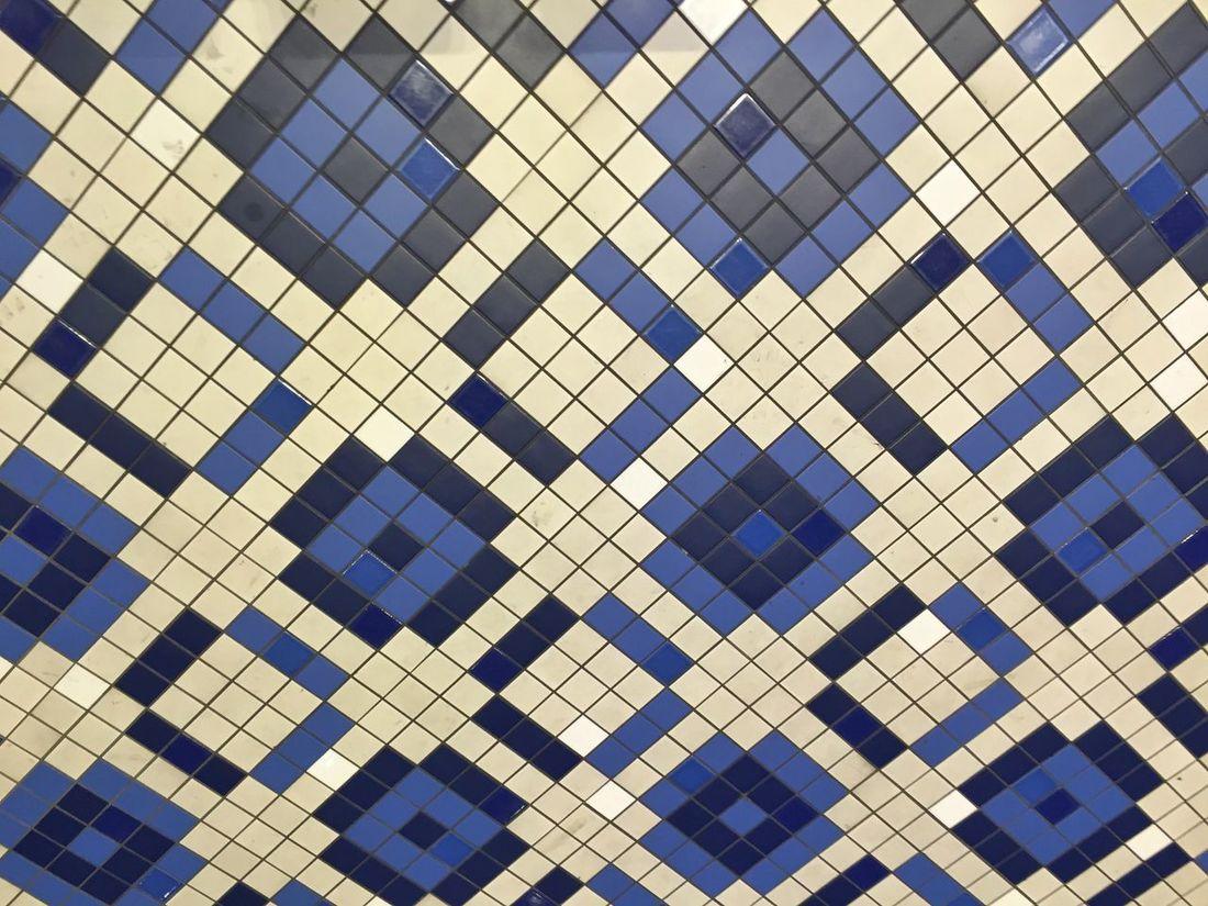 Mosaic Blue Earthenware Floor Flooring Geometry Mosaic