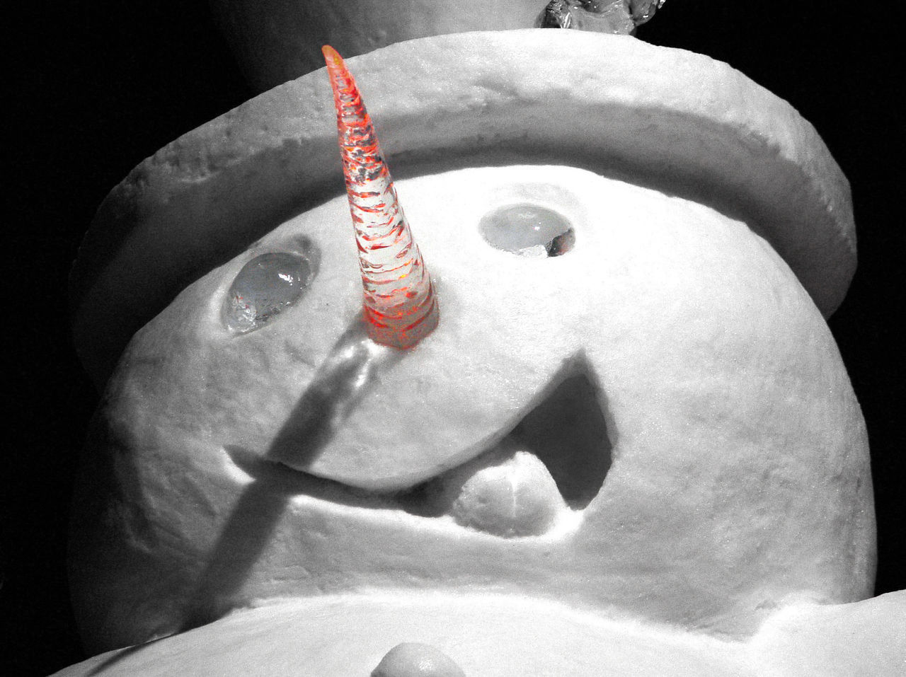 Il particolare del viso di un classico pupazzo di neve Detail Ice Nature Snow Snow ❄ Still Life White Winter Wintertime
