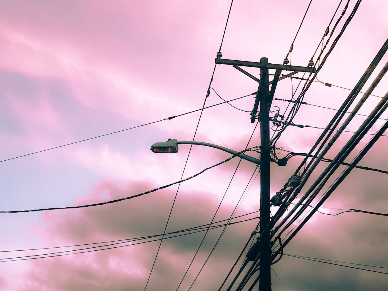 Cable Connection Power Supply Electricity  Power Line  Sky Low Angle View Technology Sunset Complexity Fuel And Power Generation Cloud - Sky Electricity Pylon No People Outdoors Telephone Line Day Pink Pink Color Sky And Clouds Cloud_collection  Simplicity