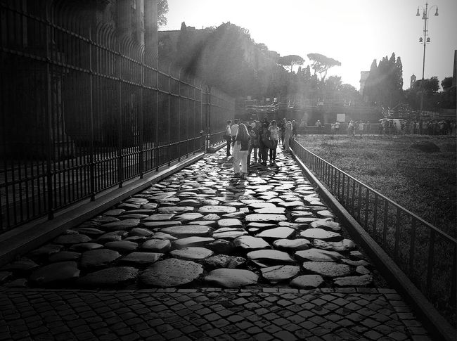 Ancient Roman Road Antiquity Cobblestone Day Italy Leading Old Road Pavement Paving Stone Rome Shadow Street The Way Forward Vanishing Point Walking Walkway