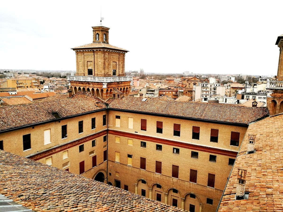 Flying High Architecture Built Structure Tower Building Exterior Travel Destinations History Clock Tower Sky City No People Outdoors Medieval Bell Tower - Tower Day Clock Vacations Landscape Love Ferrara Castello Estense Horizon Nature Street Life Architecture