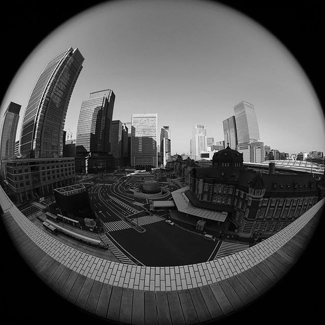 TBT  this week is a Fisheye shot of downtown Tokyo . In the lower right-hand corner is Tokyostation which is the busiest station in Japan . It originally opened on December 20, 1914. Vscojapan VSCO Vscocam Rei1440project Optoutside Myadvofyear