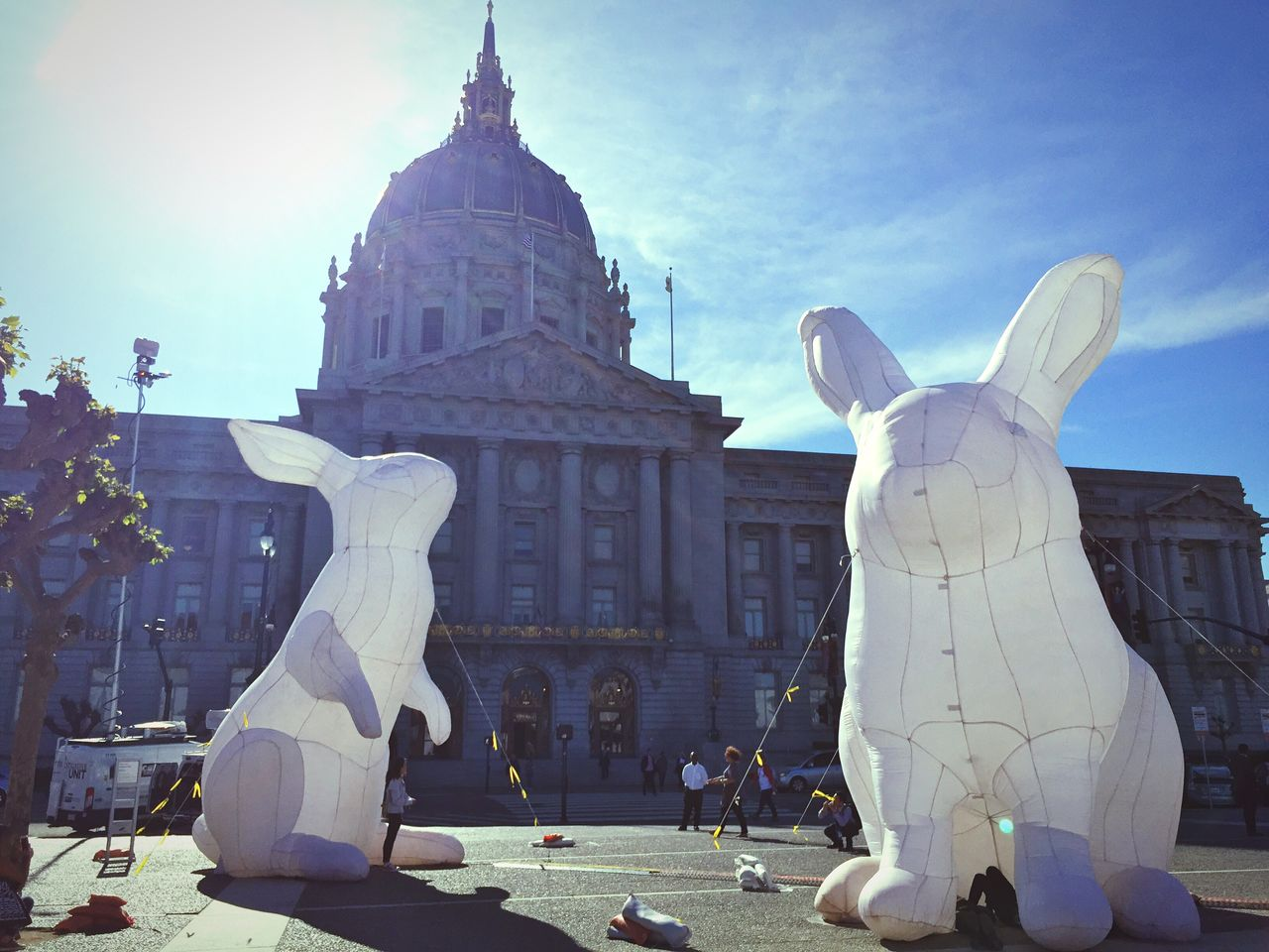 San Francisco is such an odd city. Rabbits Inflatables Spring Easter From My Point Of View San Francisco San Francisco City Hall Intrude