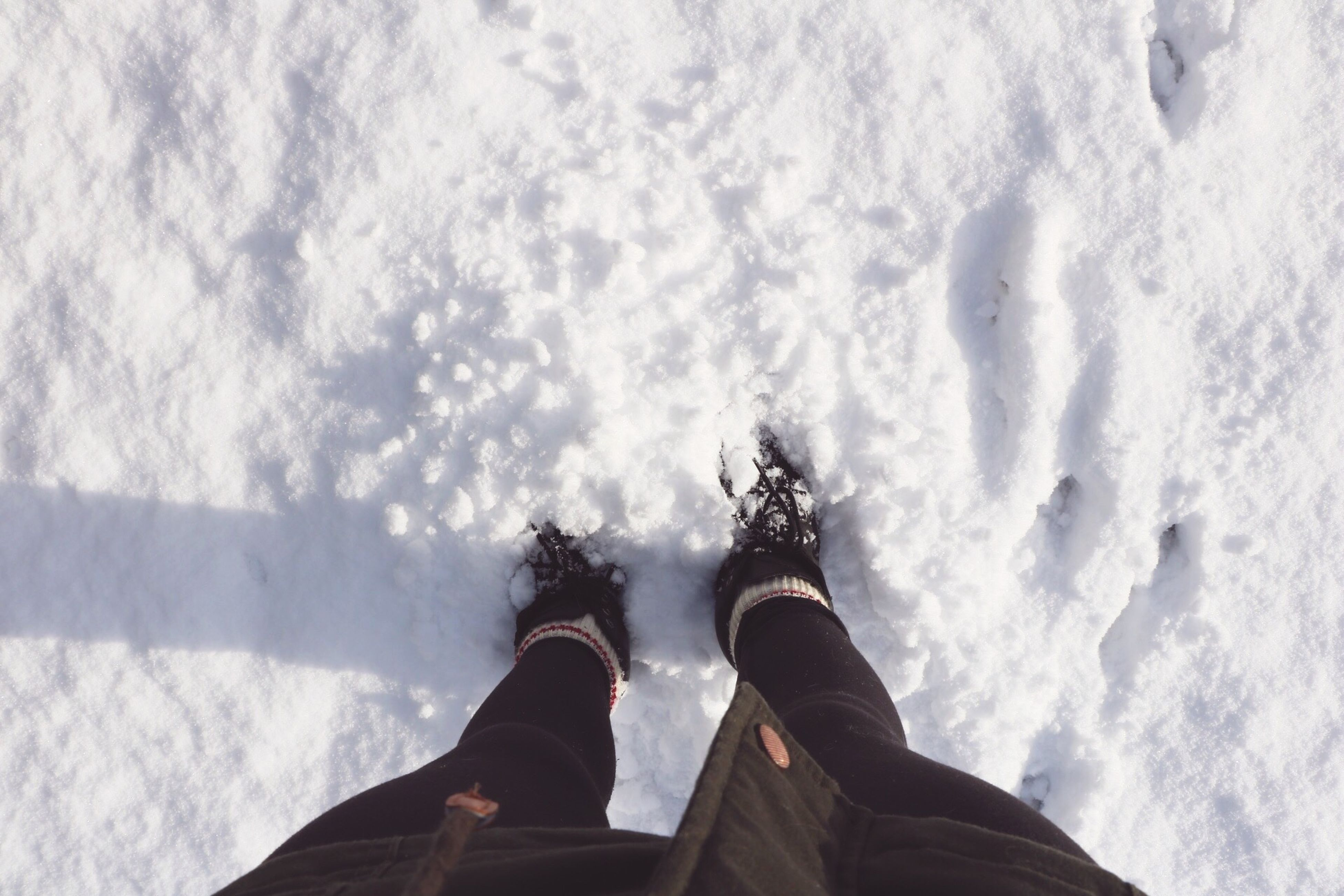 low section, person, personal perspective, lifestyles, water, leisure activity, men, standing, shoe, winter, cold temperature, human foot, snow, unrecognizable person, high angle view, part of, nature