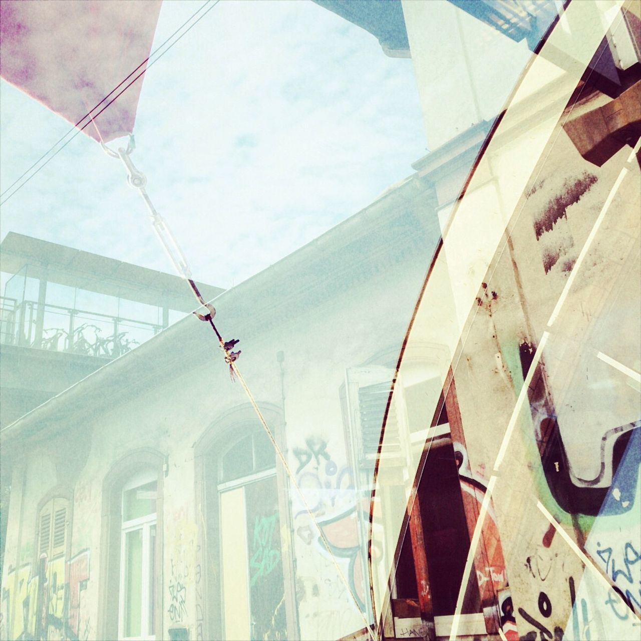 Multiple Exposure Of Awning And Building