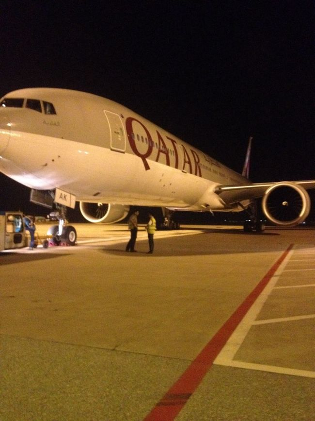 Parking in the Gate 619 so far away from me。QATAR flight on time