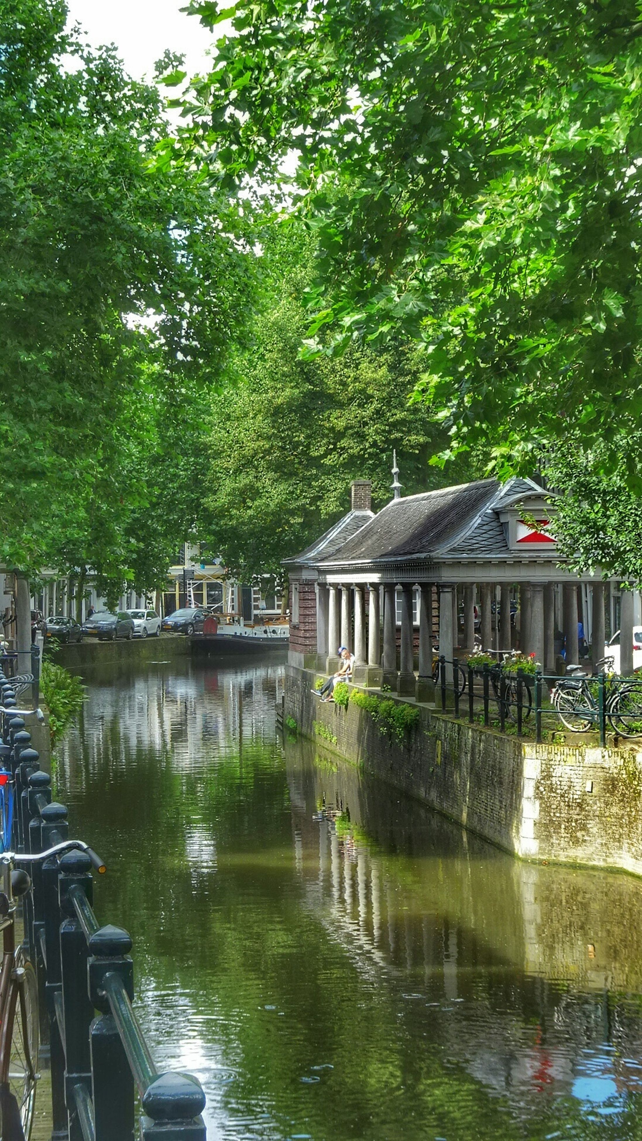 architecture, built structure, tree, building exterior, water, house, residential structure, residential building, river, reflection, waterfront, canal, growth, green color, day, tranquility, tranquil scene, nature, scenics, no people, residential district, lush foliage, beauty in nature