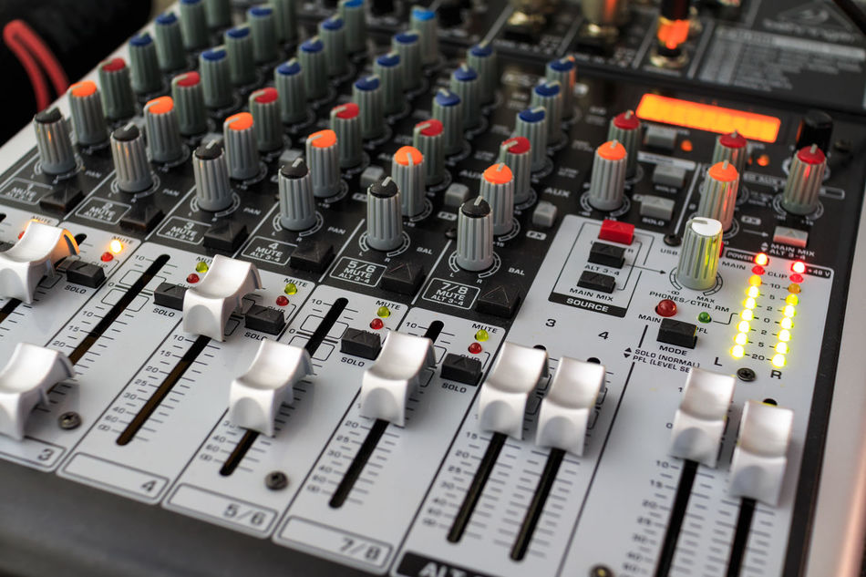 Close Up Technology Mixing Console Mixing Sound Mixing Records Headphones Sound Mixer Micro Microphone Recording Equalizer Dj Studio