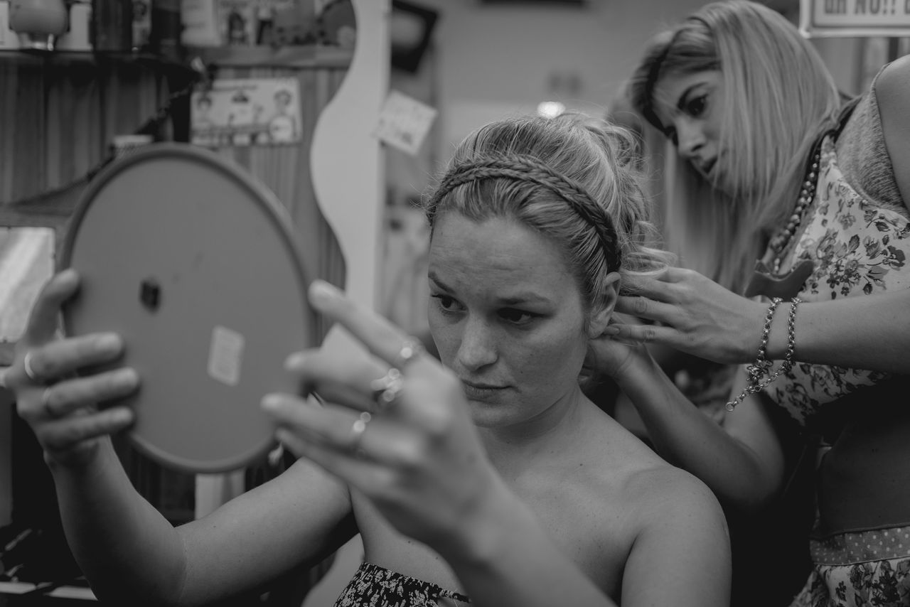 Backstage Blackandwhite Bride Day Hairdresser Hairdressing Hairstyle Lifestyles Mirror Wedding Wedding Photography Women Working Working Hard Young Women