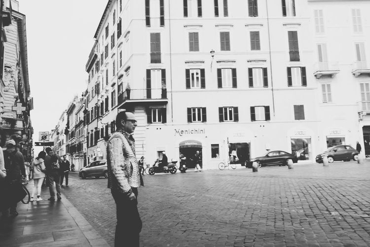 Sailor Waiting For Lola❤️ Snakeskin Jacket Fashion Statement Moda Roma Streetphotography Architecture Street Life From My Point Of View Eyeemphotography Taking Photos The Street Photographer - 2017 EyeEm Awards Blackandwhitephotography City Life Midlife
