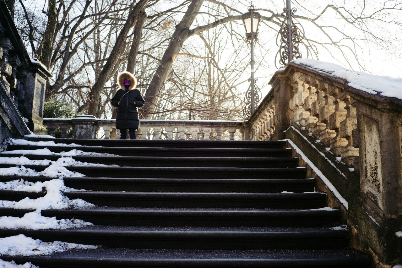 Weekend City - Winter Burka Adult Adults Only Bare Tree Day Full Length Human Body Part One Person One Woman Only Only Women Outdoors People Railing Staircase Steps Steps And Staircases Travel Tree Women