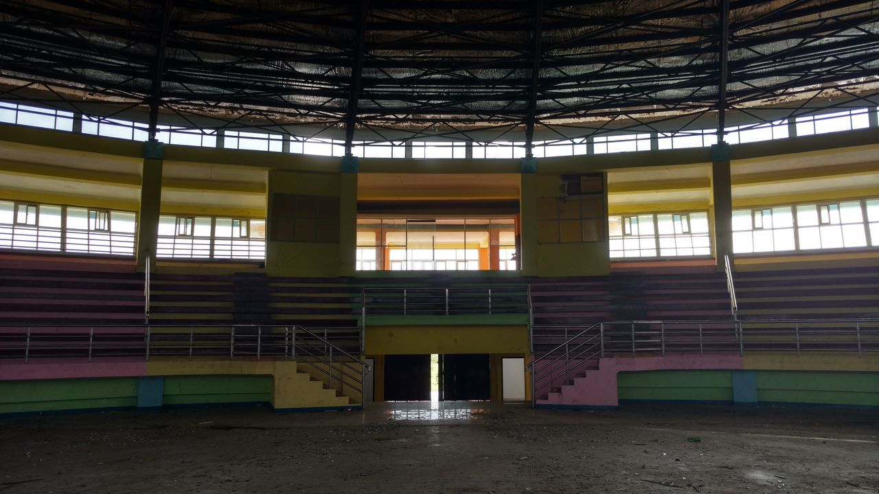 The Secret Spaces Abandoned, unfinished Badminton stadium. Sport Old Ruin AbandonedSecret Places Indoors  No People Architecture Day EyeEm Indonesia No Filter, No Edit, Just Photography EyeEm No Edit Papua Indonesia  Built Structure Natural Light Light And Shadow Window Light Contrast