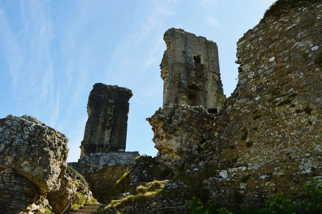 Corfe Castle Castle Castle Ruin Ruins Of A Castle Ruins Looking Up National Trust Beauty Of Decay Stone Wall Blue Sky Days Out Travel Photography Historical Building