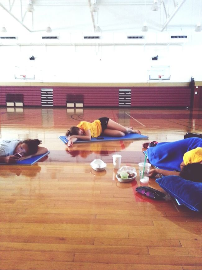 We're all dead after morning practice. Volleyball