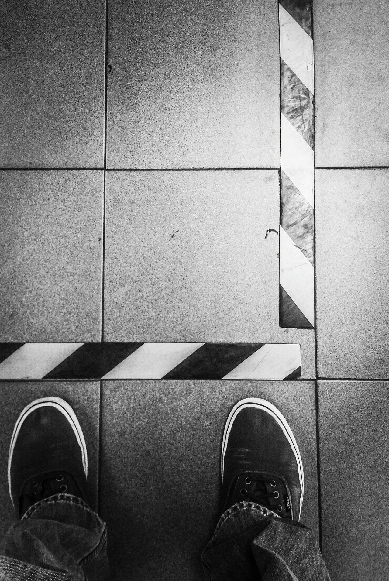 Human Leg Shoe Tiled Floor Safety First Demarcation Warning Keep Away Manufacturing Core Values Monochrome Photography Black & White Taking Photos Chemical Plant Puerto Rico Caribbean Life At Work