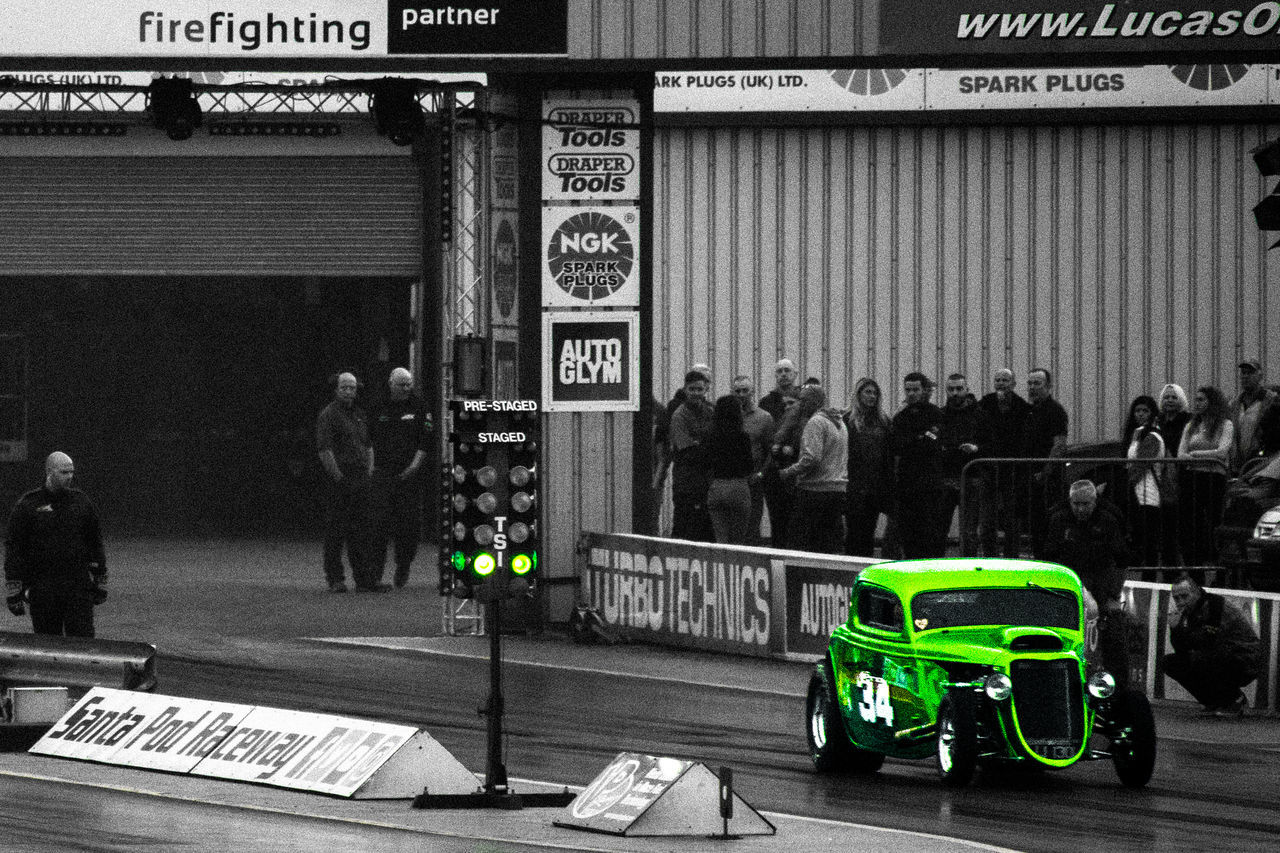 Black And White Photography Car Car Show Cars Countdown Drag Racing Go Green Green Light Greenlight Lightroom Matthew D Crosby Photographic Nikon D7100 Old Car Old Cars Racing Racing Car Santapod Santapodraceway Speed Speeding Starting Line Street Racing  Zoom
