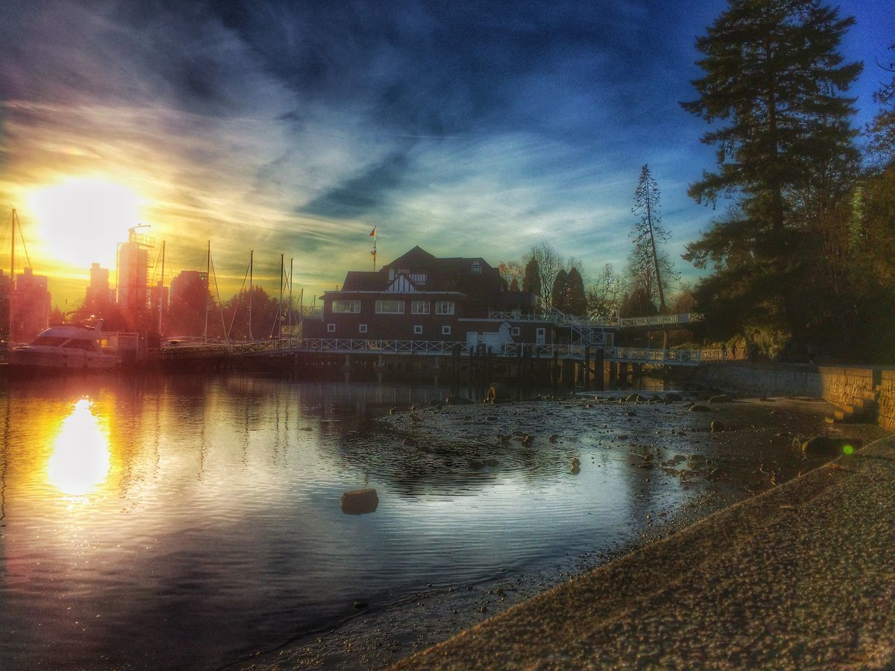 built structure, architecture, building exterior, water, reflection, sunset, tree, house, sky, no people, tranquility, tranquil scene, outdoors, nature, scenics, beauty in nature, day