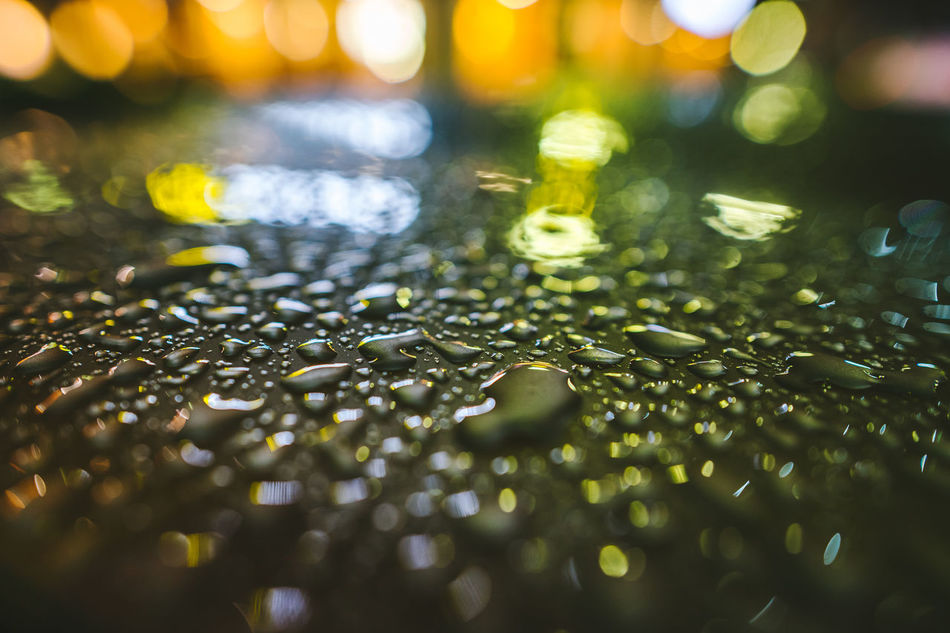 Raindrops Backgrounds Bokeh City Lights Close-up Full Frame Illuminated Indoors  Nature Night No People Raindrops Selective Focus Water Waterdrops