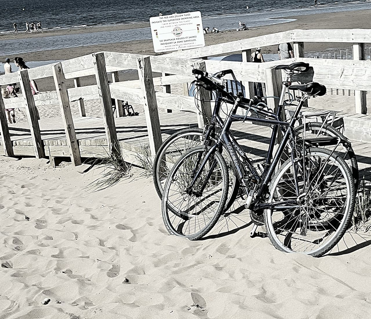 sand, beach, bicycle, day, outdoors, sea, transportation, no people, bicycle rack