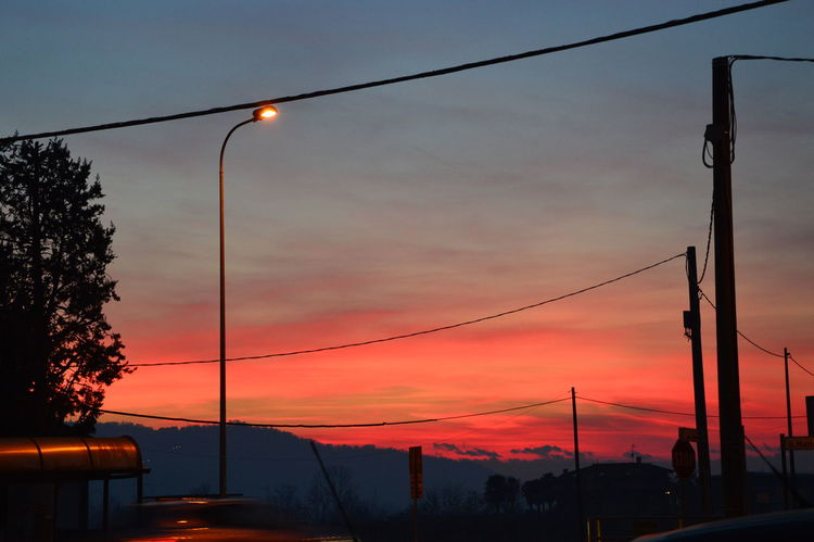 City Colors Cable Electrical Wires Lamppost No People Orange Color Power Line  Sky Sunset Urban Urban Sunset Wires And Sky