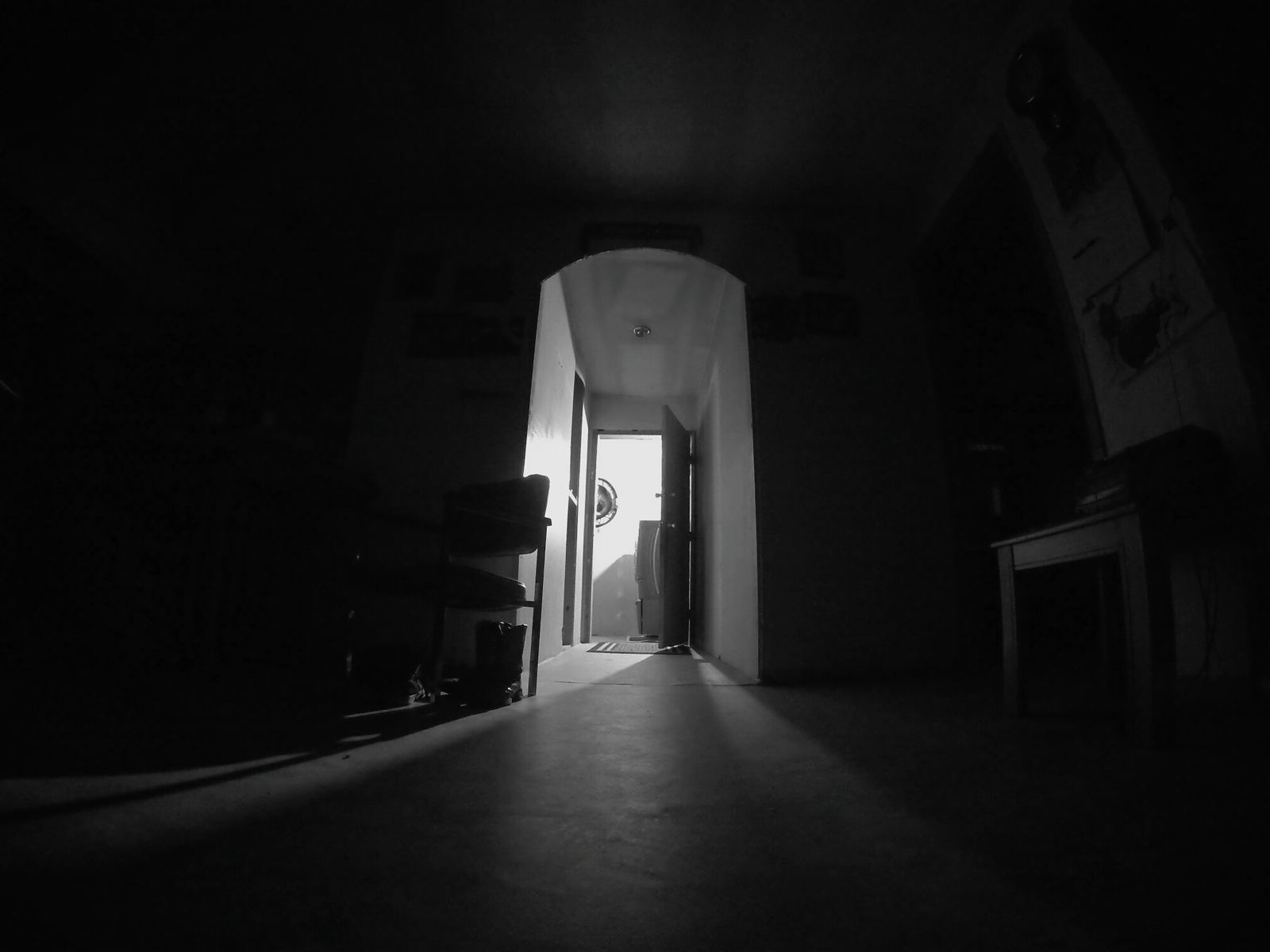 Indoors  The Way Forward Doorway Arch No People Low Angle View Fish Eye Night EyeEm Best Shots Blackandwhite Late Night Door Way Chillin Out At Home Darkness And Light Dark Photography