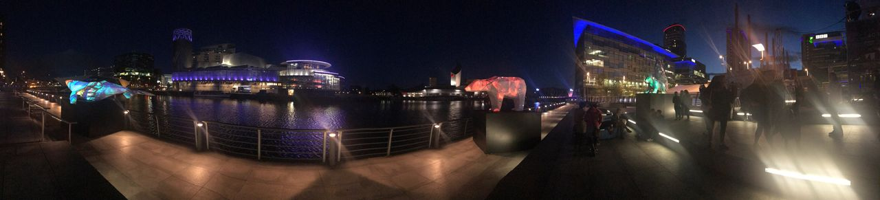 Night Illuminated Architecture Panoramic City Building Exterior Built Structure Outdoors Travel Destinations Nautical Vessel Large Group Of People Fish-eye Lens Cityscape Real People Sky People The Lowry Unnatural Borders Endangered Species Art Installation Mediacityuk Imperial War Museum North