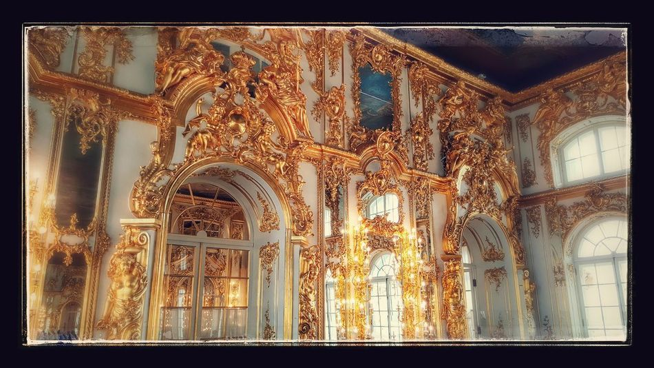 No People Low Angle View Indoors  Backgrounds Architecture Palace Rococo Catherine Palace St. Petersburg Russia Empress Gold Gold Room