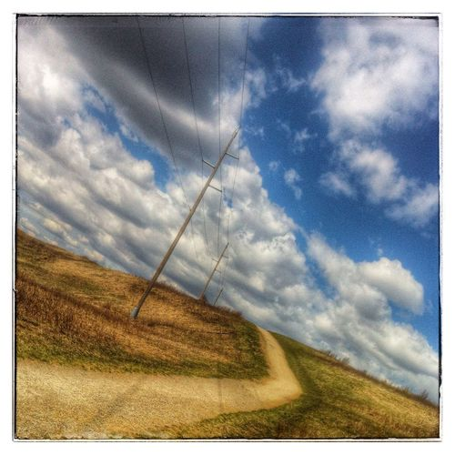 Pathway, power lines and prairie sky. Photography IPhone Prairie Sky