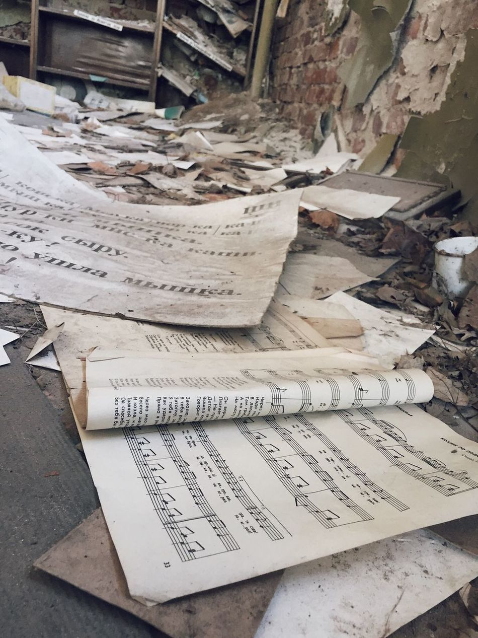 Paper Communication Text No People Indoors  Day Paperwork Newspaper Instructions Musical Note Architecture Notes From The Underground Abandoned Places Abandoned
